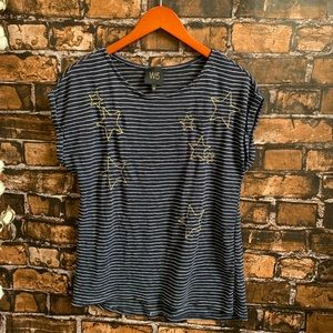 Anthropologie W5 Navy Striped Top with Gold Stars